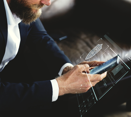 Businessman logging in to his phone