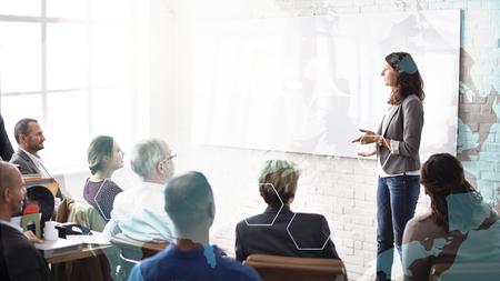 Mujer coaching en un seminario Foto de archivo