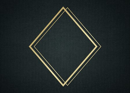 Gold rhombus frame on a dark fabric textured background