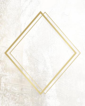 Golden framed rhombus on a grunge texture