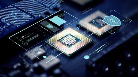 Chips de computadora en un procesador Foto de archivo
