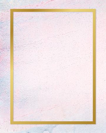 Gold rectangle frame on a pastel concrete background Banco de Imagens
