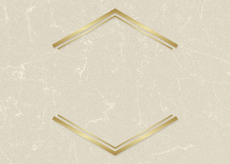 Gold hexagon frame on a beige paper textured background 写真素材