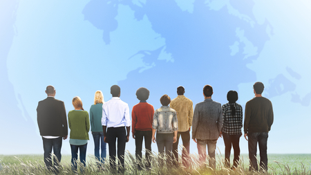 Rear view of diverse people standing together Imagens