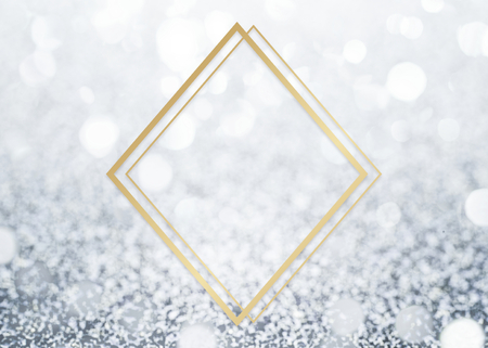 Golden framed rhombus on a glitter texture Stock Photo