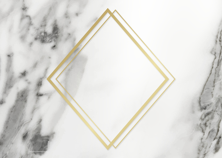 Golden framed rhombus on a marble texture