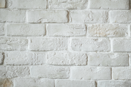 White brick wall textured background Imagens