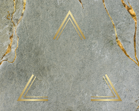 Golden framed triangle on a marble texture 写真素材