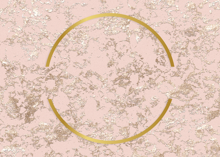 Golden framed semicircle on a pink texture