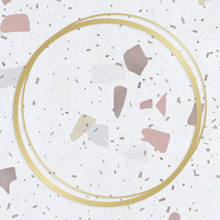 Gold round frame on a pastel patterned background Stock Photo