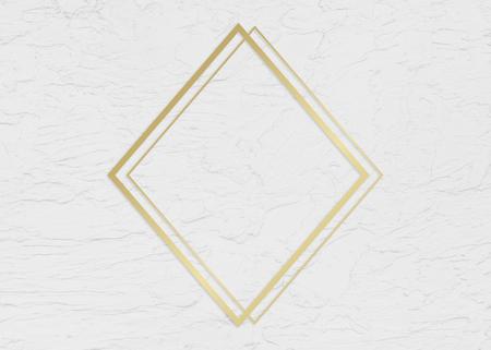 Golden framed rhombus on a wall texture illustration