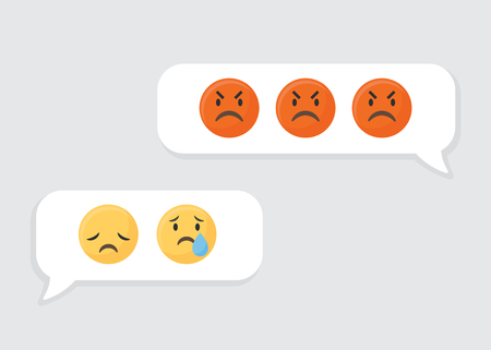 Angry and sad icons in speech bubbles vector Illustration
