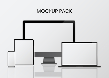 Digital modern devices mockup pack Illusztráció