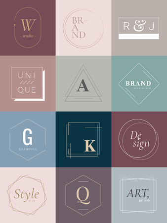Earth tone badge vector collection