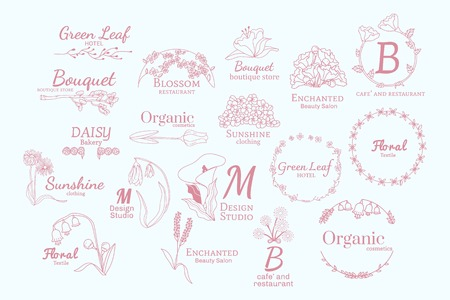 Floral feminine logo design set vector 向量圖像