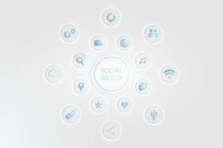 Blue social media technology icons background vector