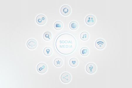 Vecteur de fond d'icônes de technologie de médias sociaux bleu Vecteurs