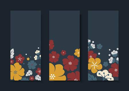 Flowers border rectangle card template vector