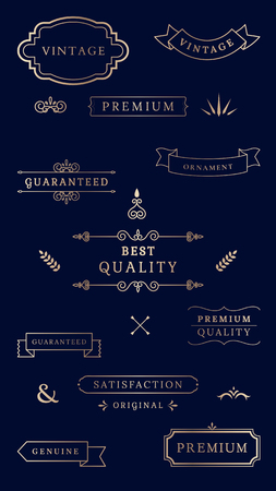 Vintage premium banner collection vectors