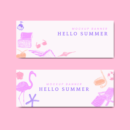 Hello summer mockup banners vector set Ilustração Vetorial