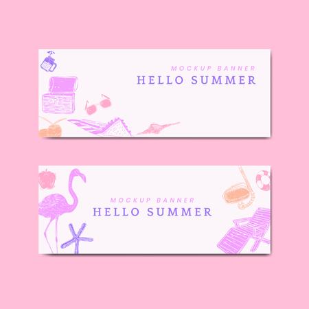 Hello summer mockup banners vector set Illustration