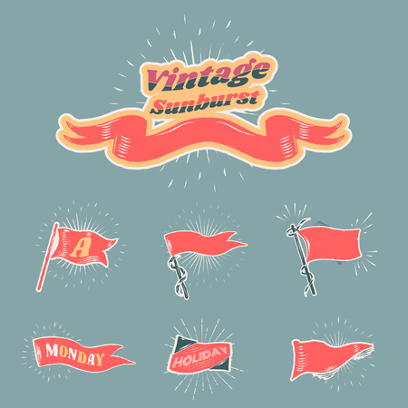Old school flags and banners vector collection