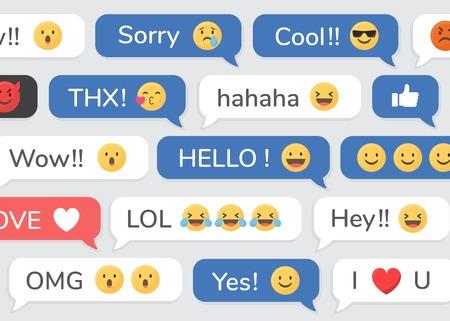 Social media emoji in speech bubbles patterned background vector Stock Vector - 120458973