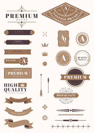 Vintage premium design element set vectors