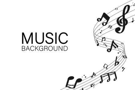 Notas musicales negras que fluyen sobre fondo blanco. Ilustración de vector