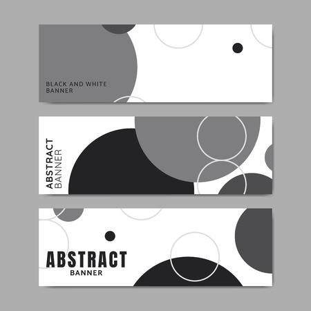 Black and white circle geometric pattern banner vectors set