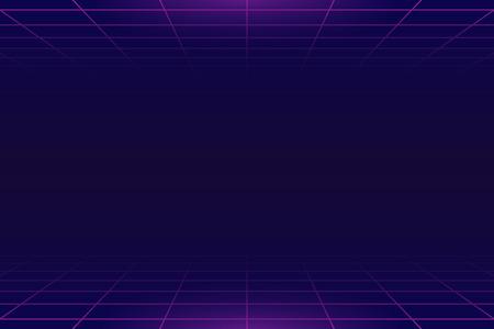 Retro neon landschap achtergrond vector Vector Illustratie
