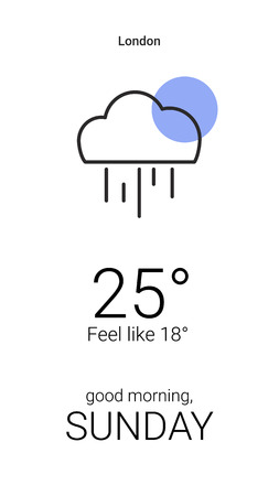 Rainy digital weather forecast display vector Çizim