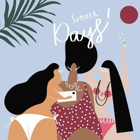 Curvy women in the summertime vector 일러스트