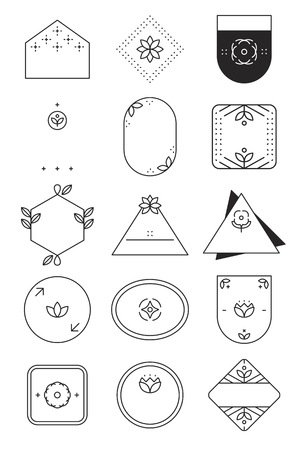 Geometric shaped badge collection vector Ilustração