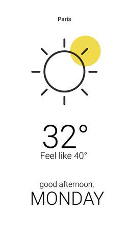 Sunny digital weather forecast display vector