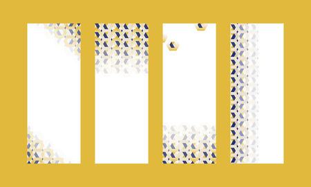 3D yellow and blue hexagonal patterned banner vectors set