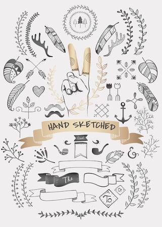 Hand drawn boho doodle element  vectors collection