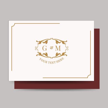 Vintage card with baroque badge vector 向量圖像