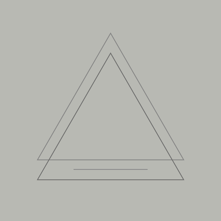 Triangle badge on gray background vector