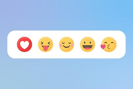 Emoji de médias sociaux dans un vecteur de bulle blanche Vecteurs