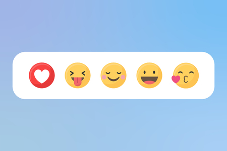 Social media emoji in a white speech bubble vector