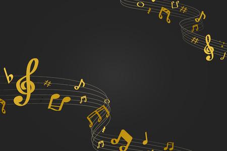 Notas musicales que fluyen amarillas sobre fondo negro Ilustración de vector