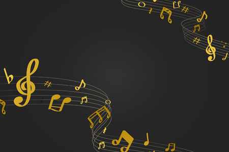Yellow flowing music notes on black background vector Banco de Imagens - 123969288