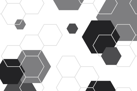 Black and white hexagon geometric patterned background vector 向量圖像