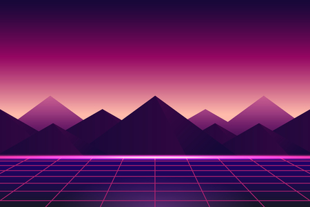 Retro neon landscape background vector 일러스트