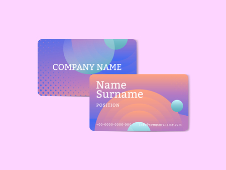 Bluish geometric abstract patterned business card template vector
