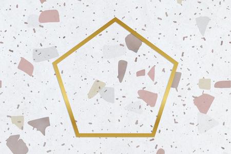 Pentagone encadré d'or sur une texture tachée