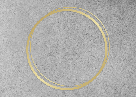 Gold circle frame on a gray concrete textured background illustration Stock Photo