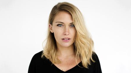 Portrait of a blonde woman 스톡 콘텐츠