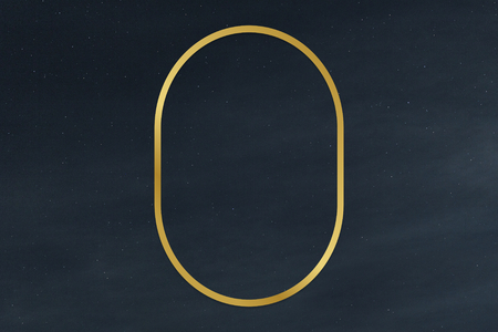 Gold oval frame on a clear night sky background illustration